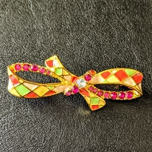 Jewelry - VINTAGE Enamel and Rhinestone Bow Brooch Pin